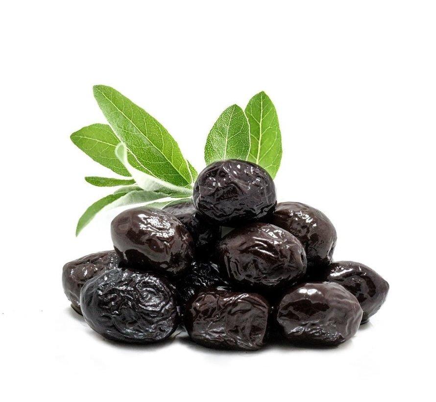 Organic Black Saddle Olives 750 gr