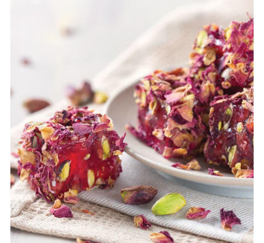 Turks Fruit met Rozenbladeren Granaatappel met  Pistache Topping en Vulling 500gr