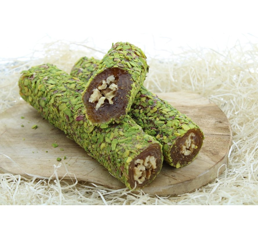 Turkish Delight filled with walnuts, fig blend and Pistachio topping 500 grams