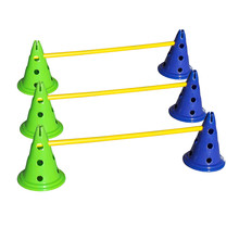 Set van 6 pionnen en 3 springstokken om de hond te trainen