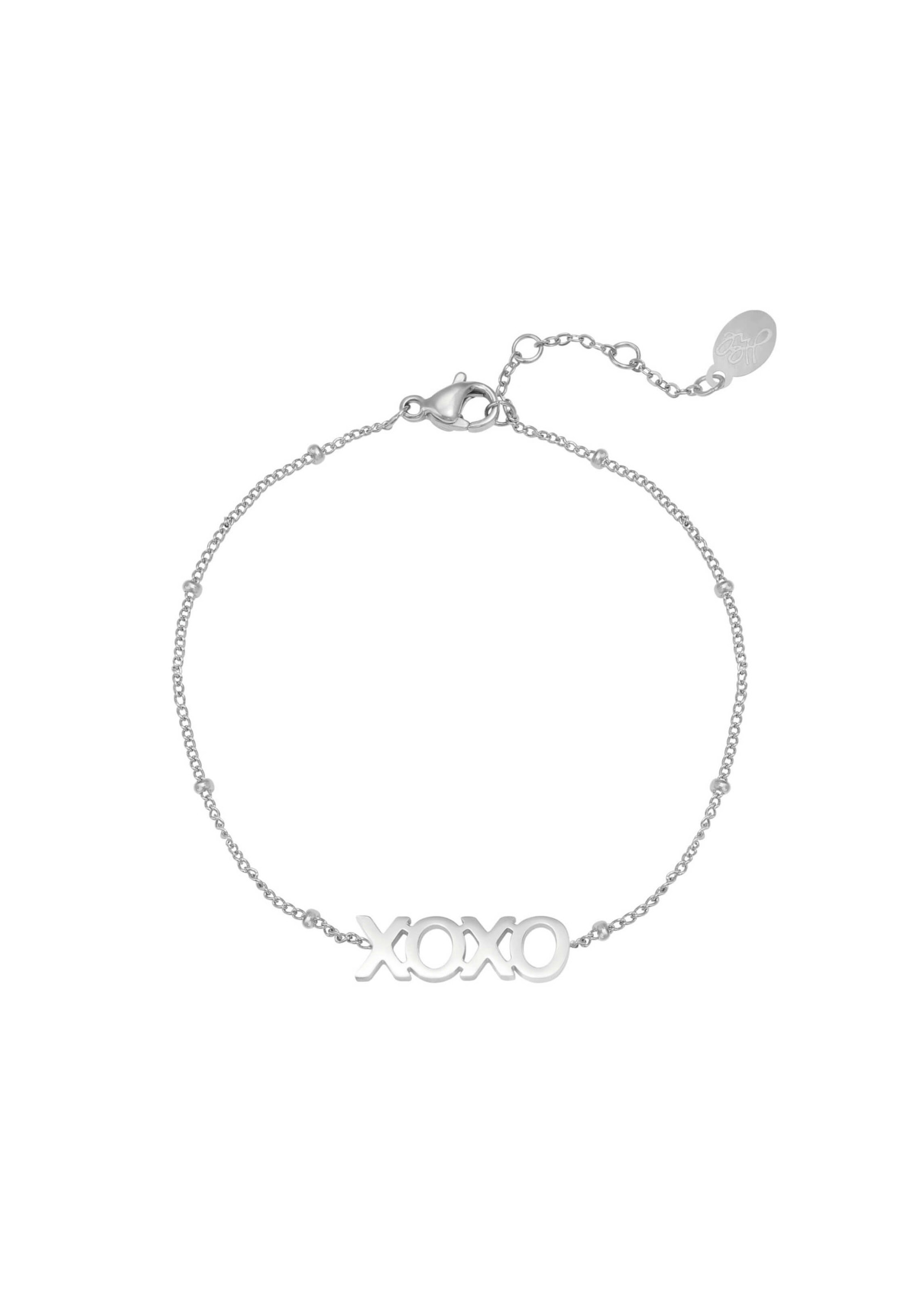 DOTTED XOXO ARMBAND ZILVER