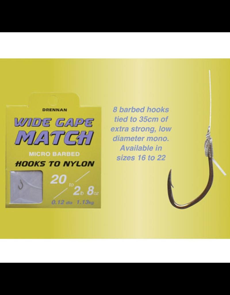 Drennan Drennan Wide Gape Match Micro Barbed Hooks to Nylon