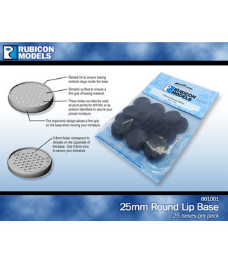 Rubicon Models 25mm Round Lip Base - Pack of 25