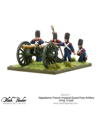 Black Powder Napoleonic French Imperial Guard Foot Artillery firing 12-pdr