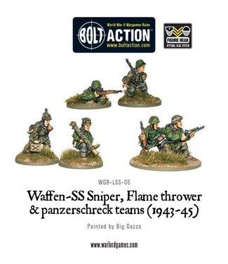 Bolt Action Waffen-SS Sniper, Flamethrower and Panzerschreck teams (1943-45)
