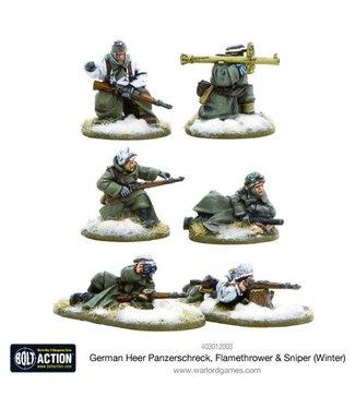 Bolt Action German Heer Panzerschreck, Flamethrower & Sniper teams (Winter)