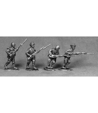 Empress Miniatures BEF Riflemen with Gas Masks Advancing (BEF13)