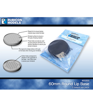 Rubicon Models 60mm Round Lip Base - Pack of 5