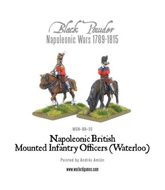 Black Powder Mounted Napoleonic British Infantry Officers (Waterloo campaign)