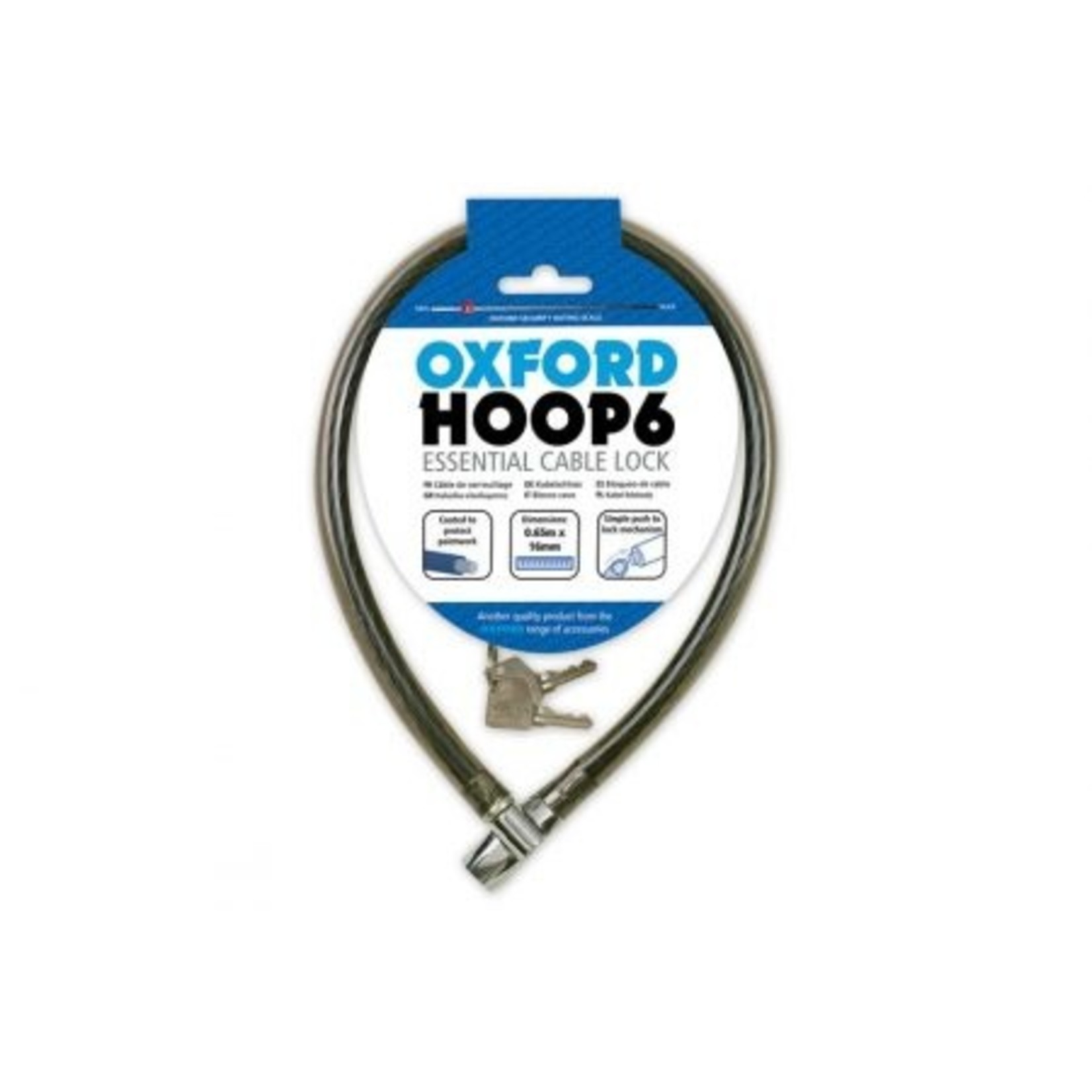 Oxford LK228 HOOP 10 Cable Lock - Smoke, 10mm x 650mm