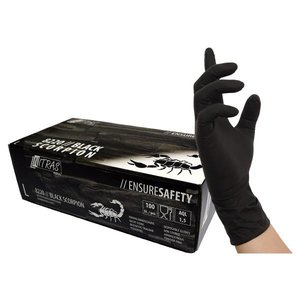 BLACK Latex gloves size XS