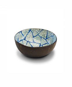Bol en noix de coco en finition coquille d'oeuf blanc et bleu