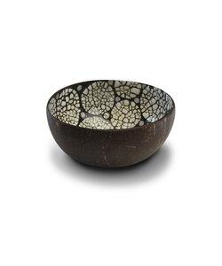 Bol en noix de coco au finition coquille d'oeuf blanc et noir