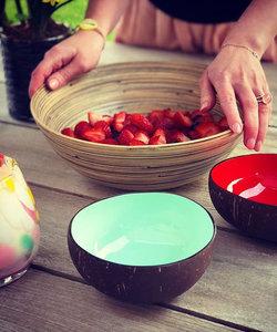 Noya coconut bowl: Kokosnoot potje met kleurrijke look in muntgroen
