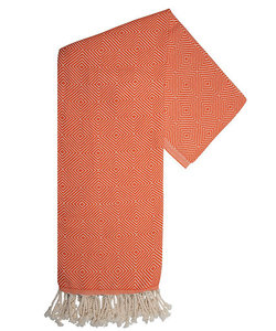 Serviette hamam en orange et blanc