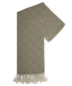 Serviette hamam en kaki et blanc