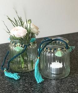 Lanterne avec fil doré et turquoise