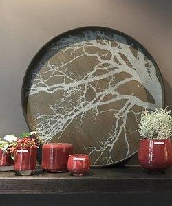 Groot dienblad met witte boom op hout