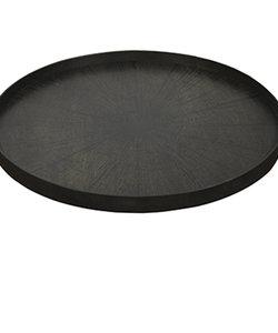 XL dienblad 'black slice' met afbeelding van zwarte houtschijf op hout