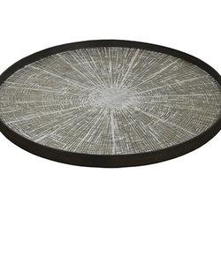 Plateau XL 'white slice' décoration blanche disque en bois