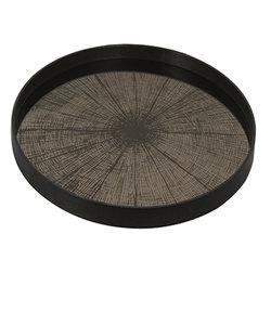 Groot dienblad 'slice mirror': bronzen houtschijf op spiegel