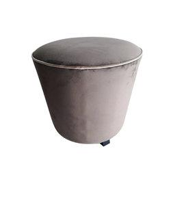 Pouf rond en velours gris-brun