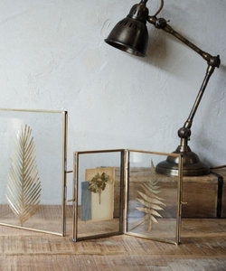 Cadre photo double avec bords en cuivre