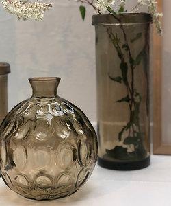 Originele beige vaas Barcelona van gerecycleerd glas