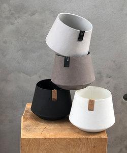 Cache-pot blanc 'Tokyo' avec apparence ciment - petit modèle