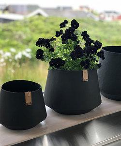 Cache-pot noir 'Tokyo' avec apparence ciment - grand modèle