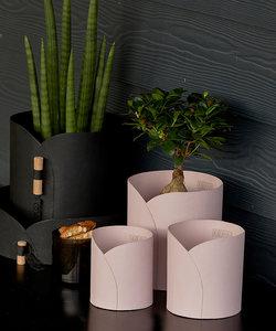Cache-pot VIENNA en papier recyclé rose pastel