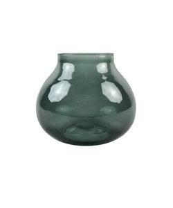 Druppelvormige donkergroene vaas van gerecycleerd glas