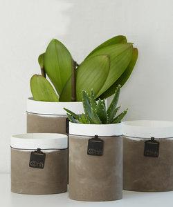 Pot de fleurs en papier recyclé avec apparence ciment, grand modèle