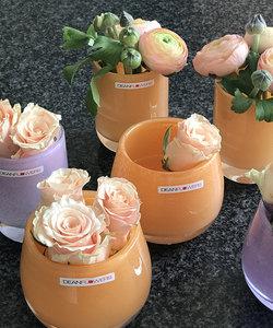 Vase en verre convexe 'canteloupe' tons orange doux