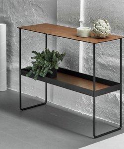 Table console noire  avec finition en cuir brun
