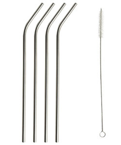 Set van 4 herbruikbare zilverkleurige rietjes in RVS