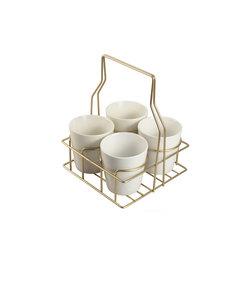Support en métal couleur or avec 4 pots