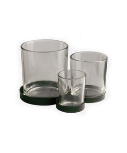 Metalen houder met 3 glaasjes
