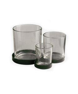 Support métallique vert avec 3 petits verres