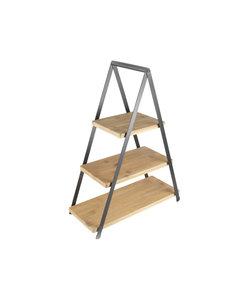 Présentoir en bambou et métal 3 planches