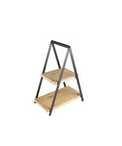 Présentoir en métal noir et 2 planches en bois