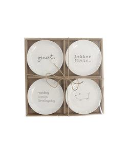 Set van 4 'geniet' bordjes - relatiegeschenk
