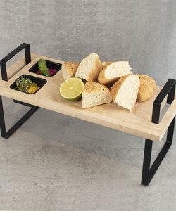 Houten plank 'serveer en dip'