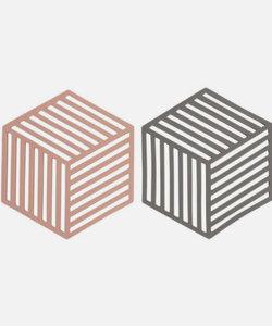 Set van 2 onderzetters grijs/roos (hexagon)