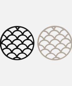 Set de 2 sous-plats ronds noir/beige