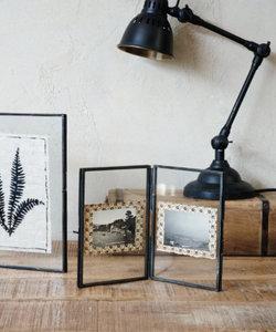 Cadre photo double avec bords en métal noir