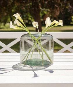 Magnifique vase vert foncé en forme de goutte de verre recyclé