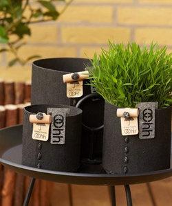 Zwarte bloempot in eco-vilt, klein model
