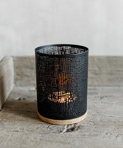 Petite lampe à vent noire en métal et bois de manguier