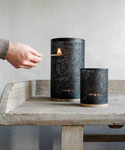 Lanterne noire en métal et bois de manguier